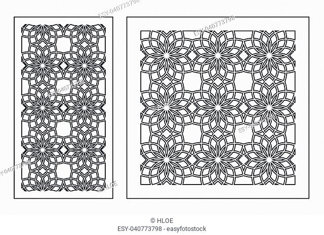 Set of cards to cut. Vector panels for laser cutting. The ratio 1:1, 1:2. Cut silhouette with geometric patterns