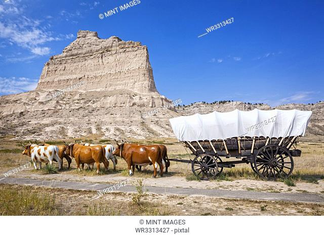 Oxen pulling covered wagon by rock formation, Scott's Bluff National Monument, Nebraska, United States