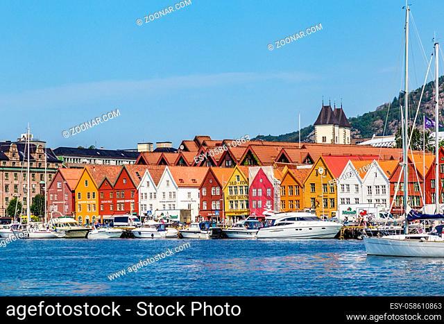 Bergen, Norway, Scandinavia - July 30, 2019: Port of Bergen with view on the historical buildings of Bryggen in Bergen, Norway
