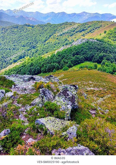 Somiedo Nature Park and Biosphere Reserve from Vildeo peak, Asturias, Spain