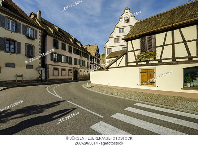 street through the village Andlau at the foothills of the Vosges Mountains, on the Wine Route of Alsace, France