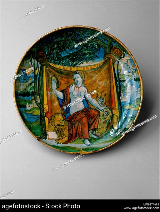 Dish (coppa). Date: ca. 1525-30; Culture: Italian, probably Urbino and Gubbio; Medium: Maiolica (tin-glazed earthenware); Dimensions: Diameter: 9 15/16 in
