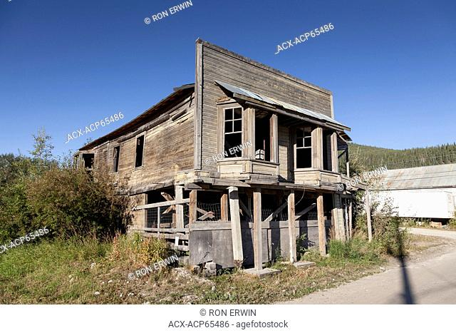 Strait's Auction House an old false front building on the corner of Harper St and 3rd Ave in Dawson, Yukon, Canada