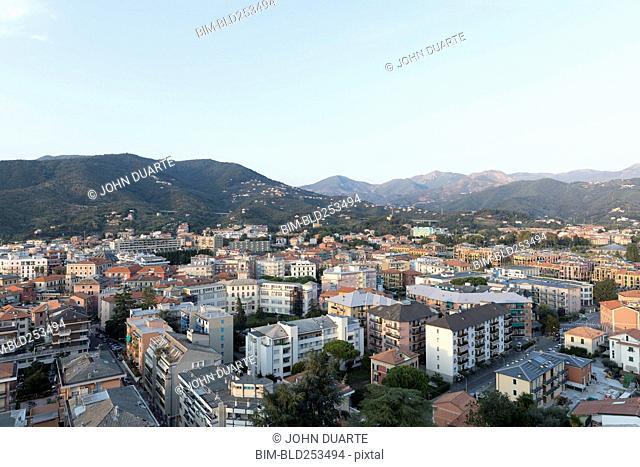 Scenic view of cityscape, Sestri Levante, Liguria, Italy