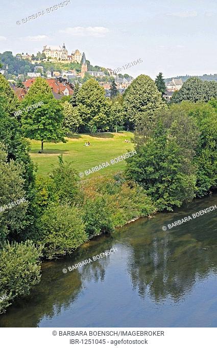 City view, Landgrafenschloss landgrave castle, Park, river Lahn, Lahntal valley, Marburg, Hesse, Germany, Europe