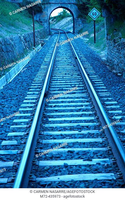 FEVE tracks. Valderredible. Cantabria. Spain