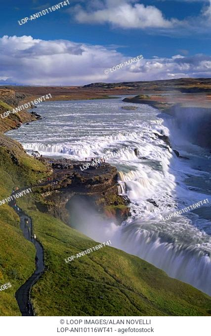 Gullfoss Waterfall located on the Hvita River in Iceland