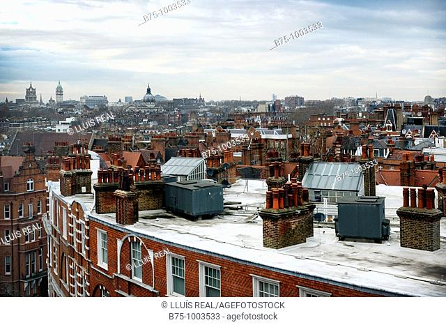 Lofts, roofs and chimneys in East London, England, UK