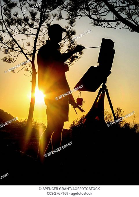 Silhouetted by an evening sunset, a scenic painter works at his easel under an evergreen tree in in Laguna Niguel, CA