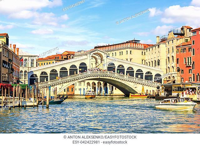 Rialto Bridge, a popular landmark of Venice in Italy, summer view