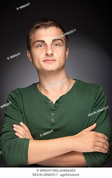 Teenager boy young man portrait serious friendly