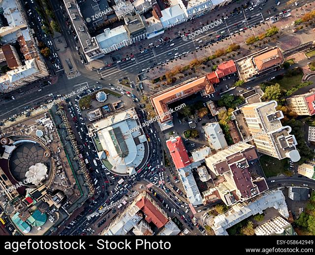 Central part of Kyiv with Arena City, Bessarabsky Market and Khreshchatyk street. Top view panoramic photo. Horizontal