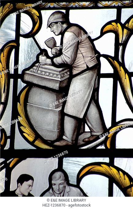 The Wren Window (detail), St Lawrence Jewry-Next-Guildhall church, London. Sir Christopher Wren rebuilt the church after it was destroyed in the Great Fire of...