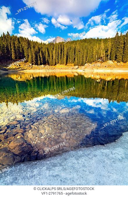 Carezza lake, Dolomites, Italy. A jewel in the Dolomites, Latemar group