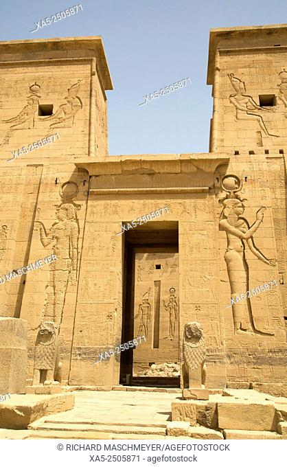 Reliefs Depicting the Goddess Hathor, Second Pylon, Temple of Isis, Island of Philae, Aswan, Egypt