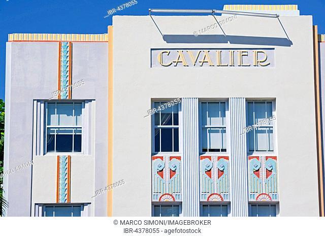 Facade, Hotel on Ocean Drive, Art Deco District, Miami, South Beach, Miami, Florida, USA