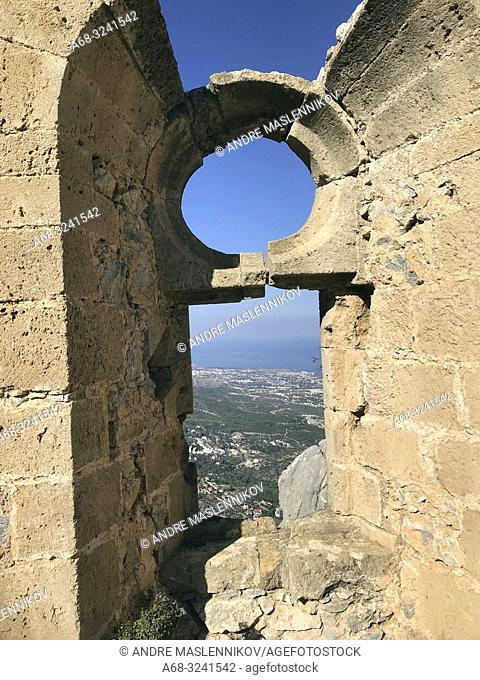 View from the Saint Hilarion Castle. It lies on the Kyrenia mountain range, in Cyprus. This location provided the castle with command of the pass road from...