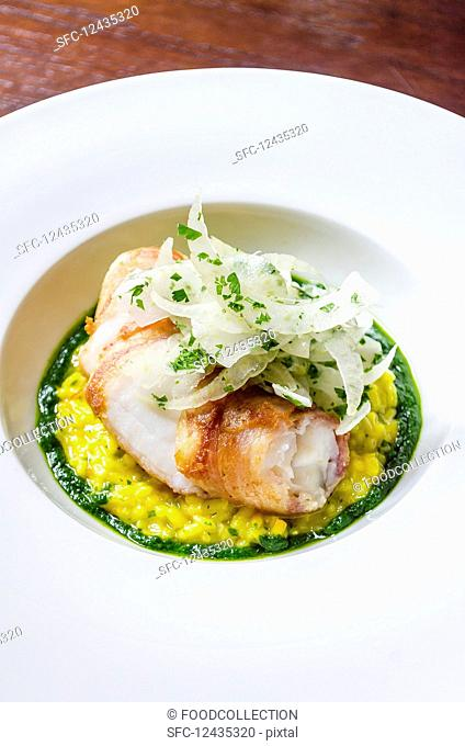 Sea bass fish fillet fricasee on a saffron risotto with wild fennel, basil, chilli