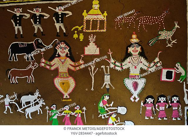 Tribal painting at the Jagdalpur Anthropological Museum ( Chhattisgarh state, India)