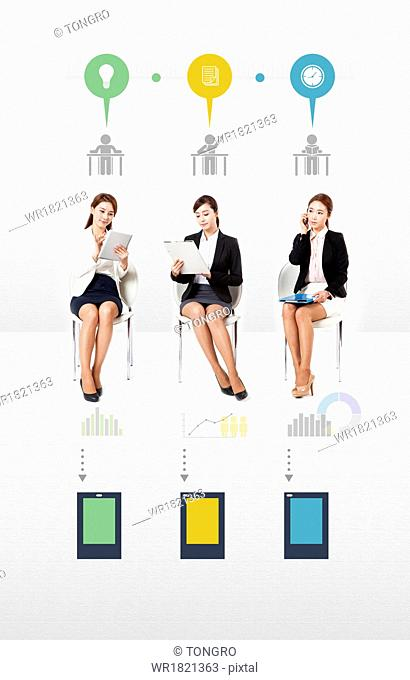 an infographic template with business women