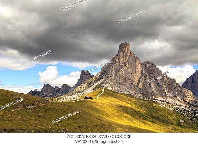 View on the Giau pass, Dolomites, Giau pass, Belluno, Veneto, Italy