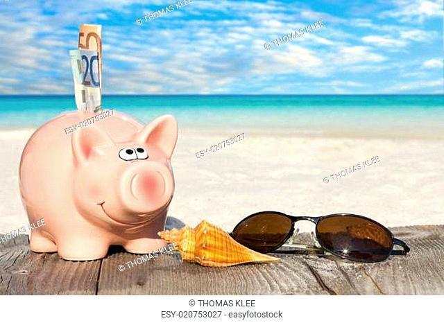 Sparschwein und Sonnenbrille auf dem Holzsteg