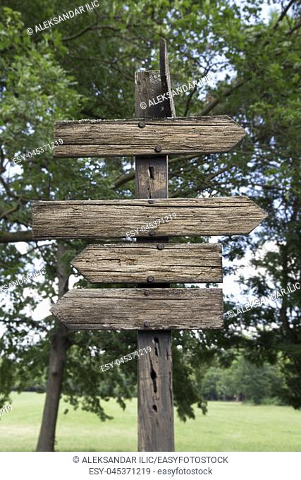 Wooden Arrows Direction Sign Post Against Nature Background