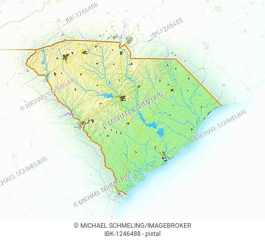 South Carolina, shaded relief map, USA