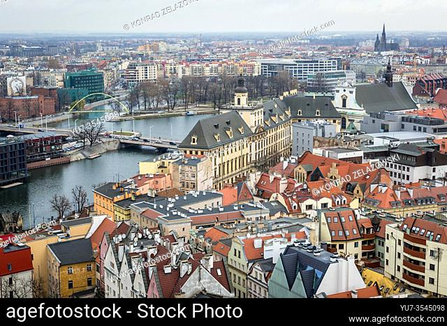 Aerial view from Garrison Church in Old Town of Wroclaw, Poland - view with University of Wroclaw building