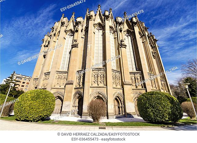 New cathedral, famous touristic landmark in Vitoria, Spain