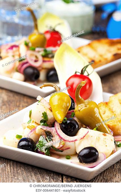 greek salad of grilled octopus