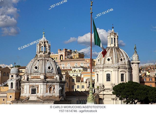 Santa Maria di Loreto and SS. Nome di Maria churches seen from the Altar of the Fatherland, Rome, Lazio, Italy, Europe