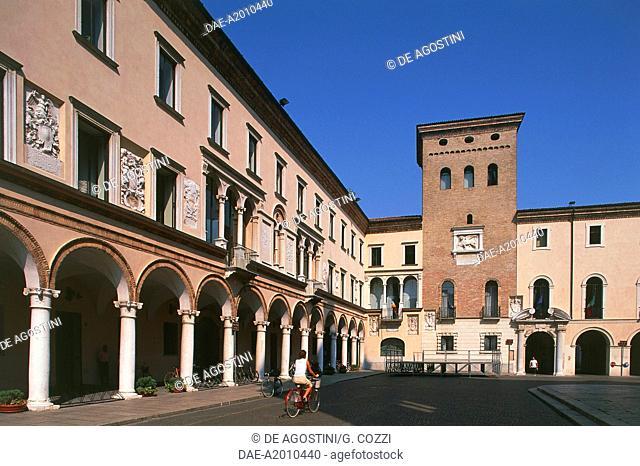 Porticoes in Piazza del Duomo, Pietrasanta, Tuscany, Italy