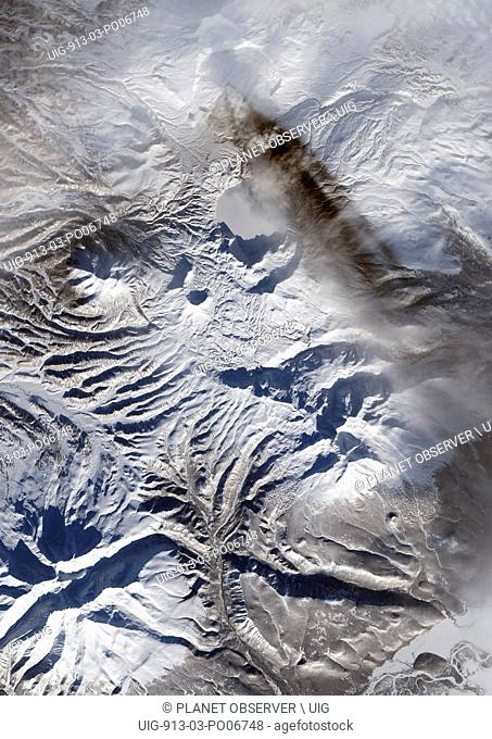 Satellite view of Karymsky Volcano, one the most active volcanoes on Russia's Kamchatka Peninsula. This image was taken on January 18
