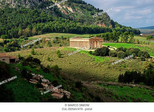 Elevated landscape and temple of Segesta, Segesta, Sicily, Italy