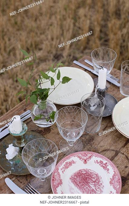 Romantic table setting on meadow