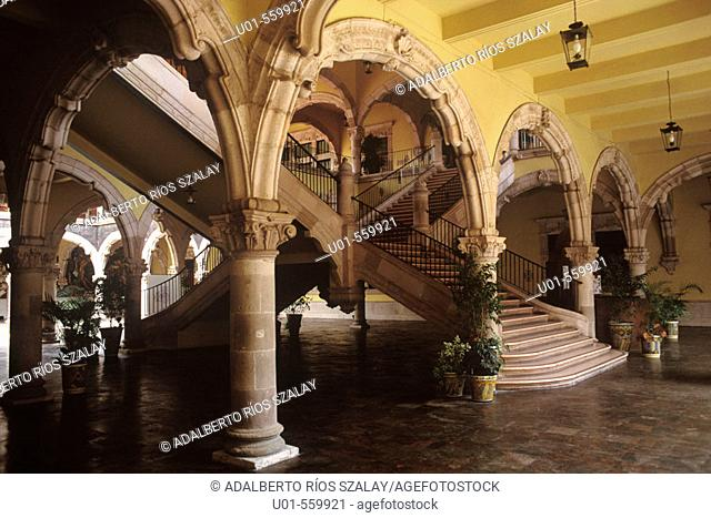 Staircase of Government Palace Aguascalientes Mexico