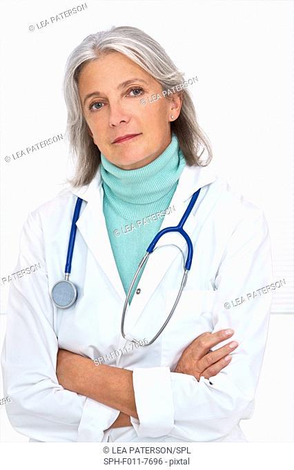 MODEL RELEASED. Mature female doctor, portrait