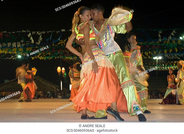 Bumba-meu-boi, traditional dance party celebrating the saints of June on the streets of Sao Luis, Maranhao, Brazil