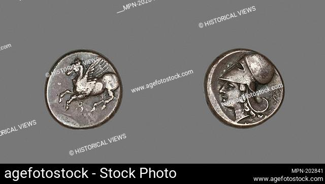 Stater (Coin) Depicting Pegasus Flying - 4th/3rd century BC - Greek, Corinth - Artist: Ancient Greek, Origin: Corinth, Date: 400 BC–201 BC, Medium: Silver