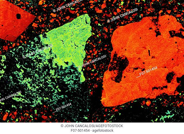 """Franklin Mosaic"" Concrete - Concrete made with fluorescent minerals willemite and calcite - Franklin - New Jersey - USA - Photographed under UV light"