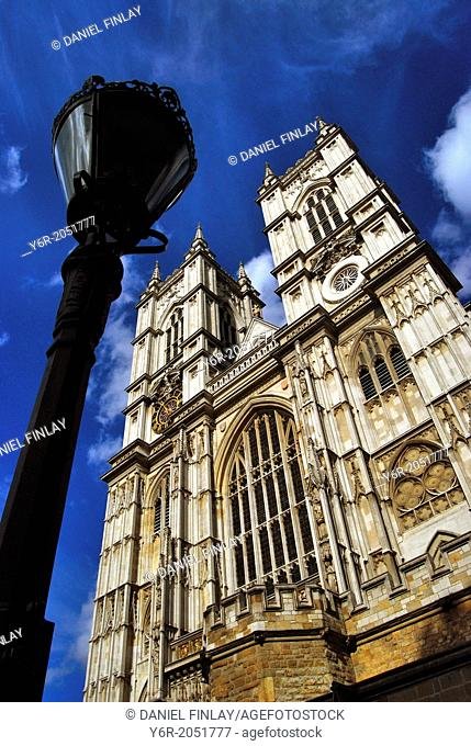 West facade of Westminster Abbey in the heart of London, England, on a sunny Summer's afternoon