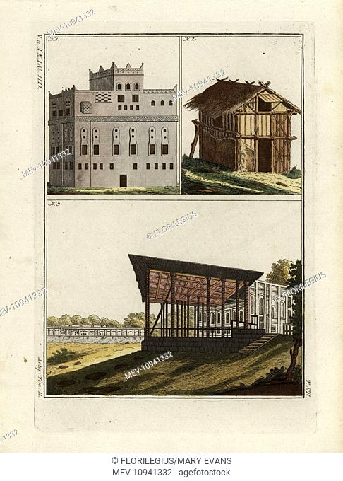 Hebrew architecture. Handcolored copperplate engraving from Robert von Spalart's Historical Picture of the Costumes of the Principal People of Antiquity and of...