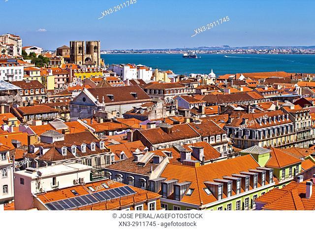 Baixa and Alfama, on background Lisbon Cathedral, from Santa Justa Lift or Carmo Lift, Elevador de Santa Justa, Baixa, Lisbon, Portugal, Europe