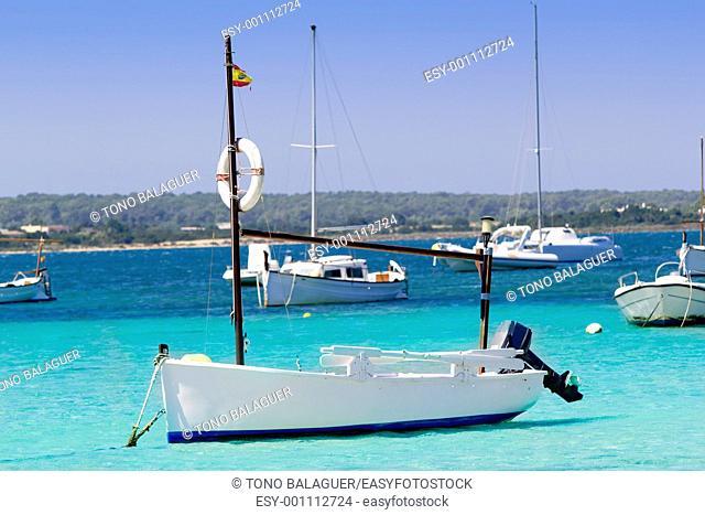 estany des peix in Formentera lake anchor boats Mediterranean Spain