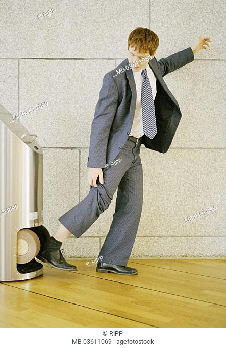 Hall, shoe finery machine, man