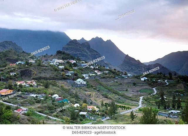 Town of Mare Seche at dusk, Cirque de Cilaos, Reunion island, France