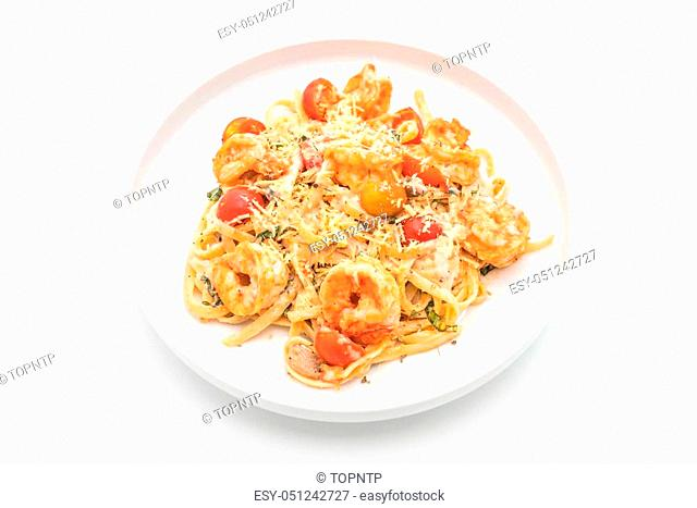 spaghetti with shrimps and tomatoes on white background