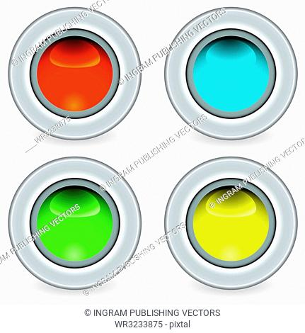 Collection of four brightly coloured icon buttons ideal for web applications