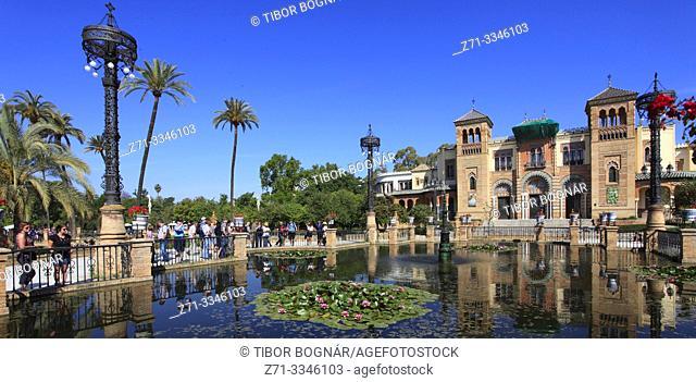 Spain; Andalusia; Seville; Parque Maria Luisa, Pabellon Mudejar, Museo Artes y Costumbres Populares,